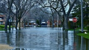 Flooded city streets