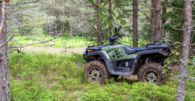 atv in field